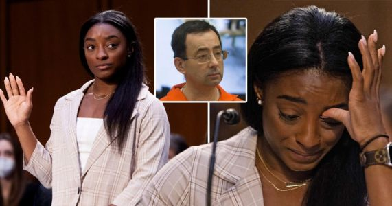 Simone Biles in tears testifying on sexual abuse by gymnastics doctor Larry Nassar