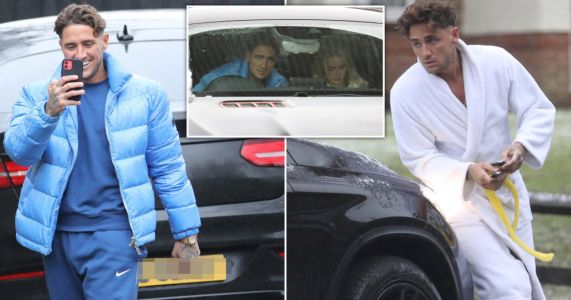 Stephen Bear seen for first time following revenge-porn arrest at Heathrow as he heads outside despite quarantine rules