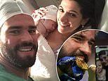 Liverpool goalkeeper Alisson shows off new son Matteo with wife Natalia