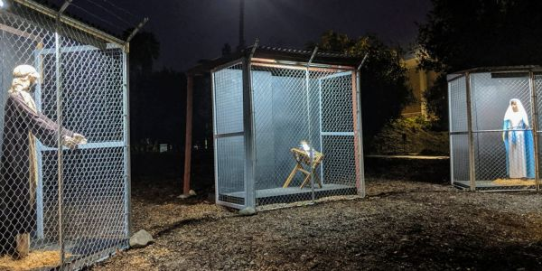 A California church has sparked controversy with its nativity scene showing Joseph, Mary, and Jesus in cages