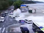 Dramatic moment massive tidal wave sweeps away vehicles in China