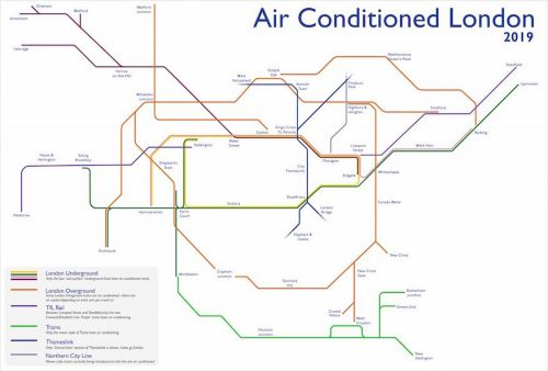 Beat the commute heat with this alternative tube map showing you air-conditioned routes