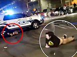 Shocking moment Tacoma police cruiser runs over a person at intersection