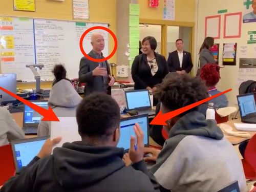 Watch a high schooler be completely unimpressed when Amazon CEO Jeff Bezos shows up to his computer science class: 'Who's Jeff Bezos?'