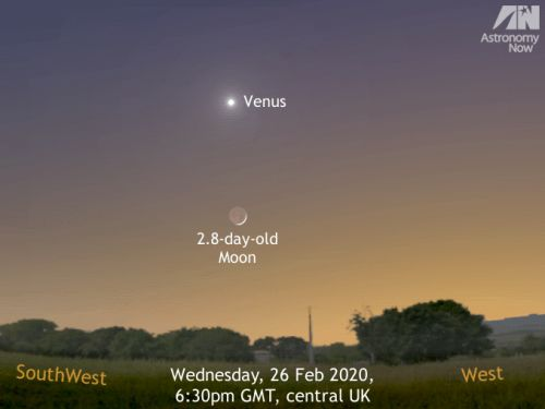 See the crescent Moon meet Venus at dusk, 26-28 February