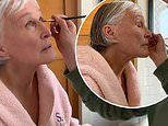 Glenn Close has wet hair and wears pink bathrobe as she gets makeup done for Critics' Choice Awards