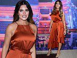 Megan Barton Hanson sizzles in a burnt orange satin dress at Emma Bunton's Christmas Party