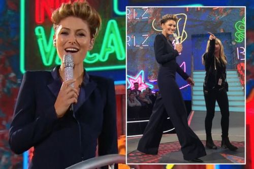 Celebrity Big Brother's Emma Willis plays it safe with navy blue jumpsuit as she kicks off 2018's explosive launch