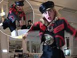 Madonna performs dance routine using one leg while she continues to recover from knee injury