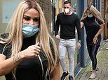 Katie Price and doting boyfriend Carl Woods arrive at TV studios