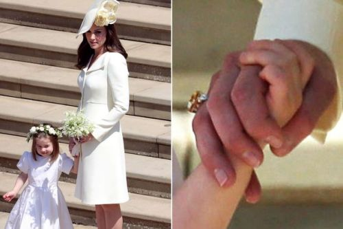 A gift from Wills? Kate Middleton seen wearing stunning new ring to Meghan and Harry's wedding in first public appearance since Louis' birth