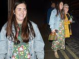 Lacey Turner displays her blossoming baby bump as she watches EastEnders co-star Shane Richie