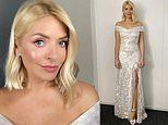 Holly Willoughby glistens in a sequined off the shoulder gown as she returns to present DOI
