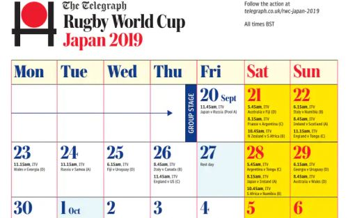 Print your Rugby World Cup 2019 calendar