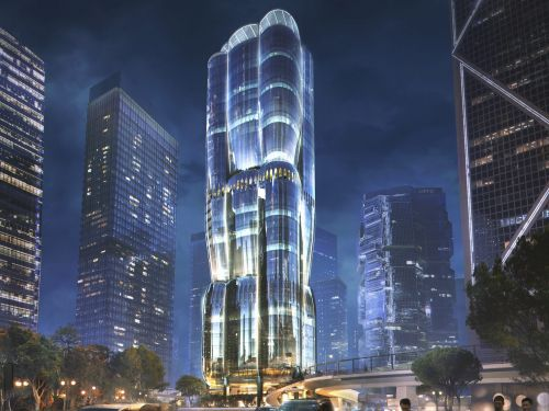 A futuristic glass skyscraper shaped like a blooming flower is being built on one of Hong Kong's most expensive plots of land - here's an early look