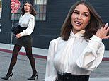 Olivia Culpooozes elegance in a chic high-necked silk blouse and miniskirt for a photo shoot in LA