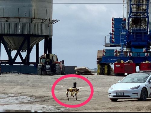A cyberpunk scene at SpaceX's launch facilities: A robot dog inspected the wreckage of a Starship rocket prototype