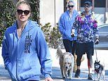 Sophie Turner and husband Joe Jonas are seen with their dogs in LA