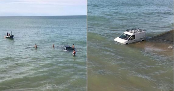 Idiots on jet skis leave their car on beach and forget about the high tide