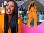 Maya Jama turns heads in yellow Balmain co-ords as she enjoys a night out on Super Saturday