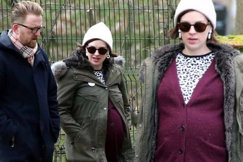 Heavily pregnant Jessica Raine looks ready to Call The Midwife on romantic walk