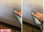 Mum removes unsightly lint balls from her sofa by shaving the fabric with an electric razor