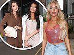 Lottie Tomlinson smoulders in red halter-neck at beauty event while Jess Wright dons mini-dress