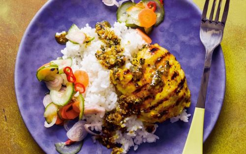 Turmeric and lemongrass chicken with quick vegetable pickle recipe