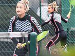 Vogue Williams looks ace in tight gym gear as she plays tennis in London