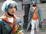 Zoe Kravitz films more scenes of her new thriller Kimi while wearing a bright blue wig in Seattle