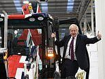 Boris Johnson is let loose in a 'Get Brexit Done' JCB and smashes through a wall marked 'gridlock'