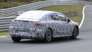 New 2022 Mercedes EQE electric saloon spied at the Nurburgring