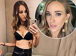 AFL WAG Rebecca Judd shows off cleavage in black lingerie