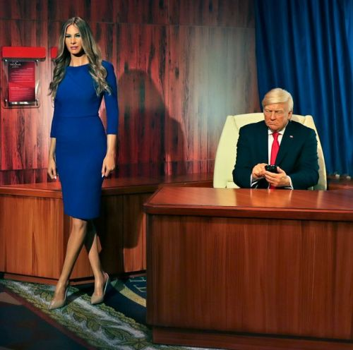 Donald Trump Waxwork Stares At His Phone And Ignores Melania Trump In New Display