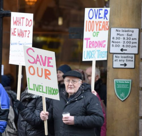VIDEO: Victorian Market traders stage protest as battle continues with council