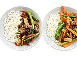 Dietitian Paula Norris shares photos of her stir fry meals but one has many more calories than other