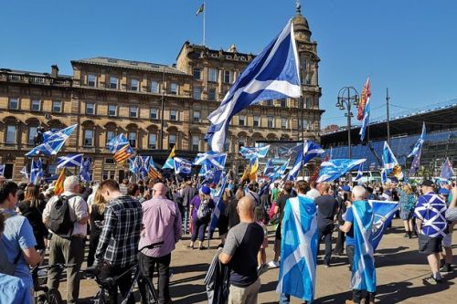 Sea of Saltires cover George Square in Glasgow as Yes voters gather for independence demo