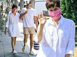 Selma Blair looks summer fresh in shirt-dress and pink face mask while shopping with Ron Carlson