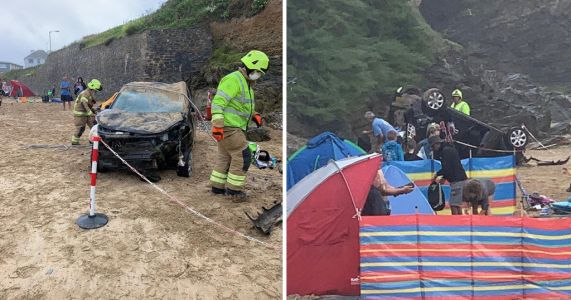 Car plunges over cliff and crushes empty tent on busy beach