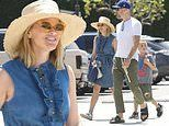 Reese Witherspoon looks summer chic in denim as she steps out with her family for brunch in Malibu