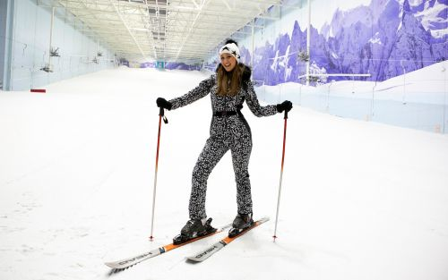 On the chairlift with. Strictly Come Dancing star and beginner skier Catherine Tyldesley