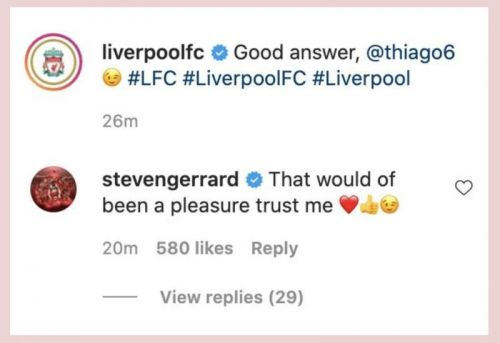 Steven Gerrard replies to Thiago and conjures ideas of dream midfield alongside Liverpool's Spaniard