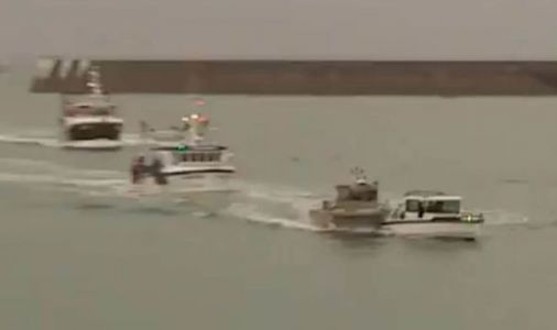 Jersey chaos: Video catches moment boats COLLIDE during tense scenes in French blockade