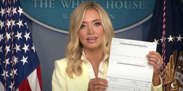 Trump's press secretary may have flashed his private bank account and routing numbers while displaying the check of his quarterly salary donation