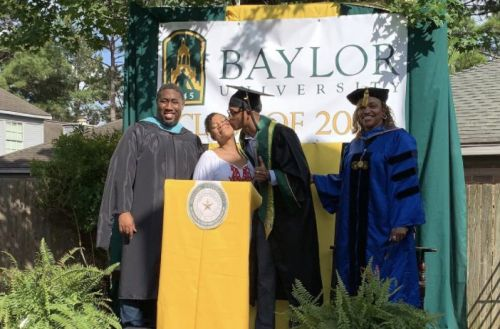 Single mum who struggled for her own education celebrates son's graduation in backyard
