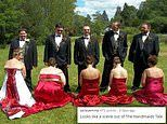 Viral wedding photo slammed for looking like it's something from the Handmaid's Tale