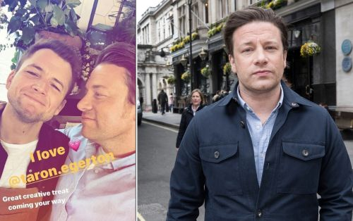 Jamie Oliver jokes with Taron Egerton as chef films Christmas TV special after restaurant collapse