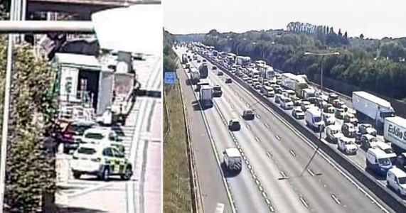 M25 left gridlocked after police swoop on lorry in migrant smuggling operation