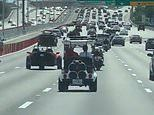 It's a Caddy-lack! Bizarre moment a golf cart is spotted driving along a busy highway in Florida