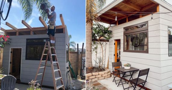 Dad builds hip coffee shop in his back garden in just three months